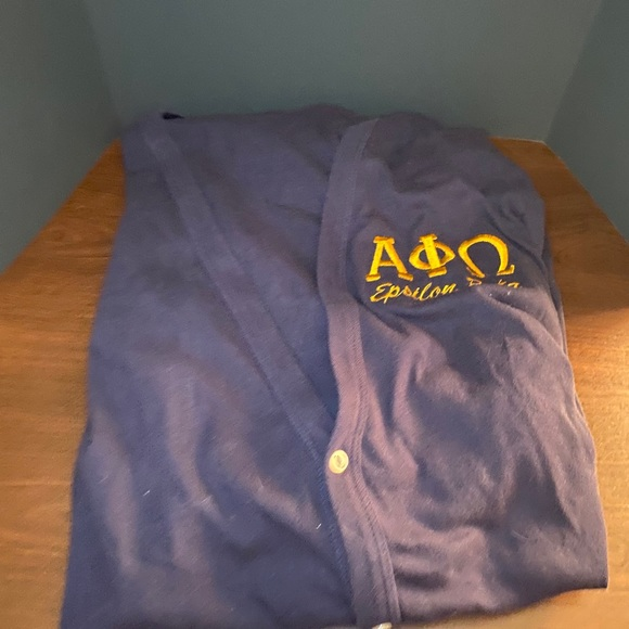 Navy Blue Alpha Phi Omega Cardigan with Embroidery